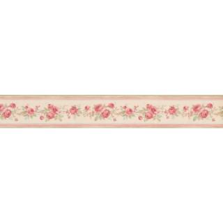 3 1/2 in x 15 ft Prepasted Wallpaper Borders - Pink Floral Roses Wall Paper Border