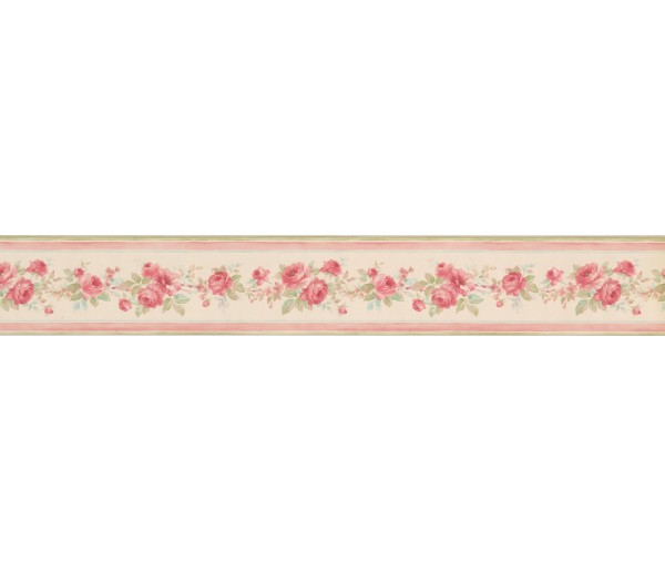 Garden Wallpaper Borders: Pink Floral Roses Wallpaper Border