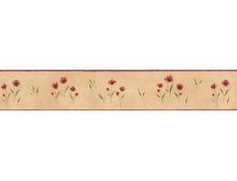 5 in x 15 ft Prepasted Wallpaper Borders - Brown Background Red Petal Rose Art Wall Paper Border