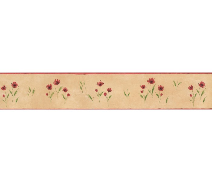 Garden Wallpaper Borders: Brown Background Red Petal Rose Art Wallpaper Border