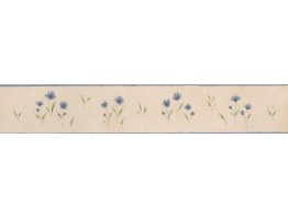 5 in x 15 ft Prepasted Wallpaper Borders - White Background Blue Petal Rose Art Wall Paper Border