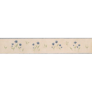 5 in x 15 ft Prepasted Wallpaper Borders - White Background Blue Petal Rose Art Wall Paper Border