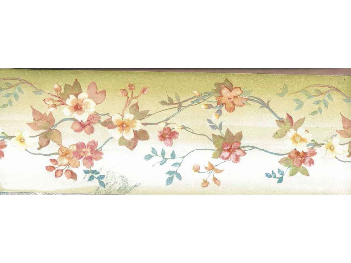 Brown Background White Tiny Flowers Wallpaper Border