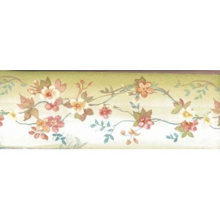 5 in x 15 ft Prepasted Wallpaper Borders - Brown Background White Tiny Flowers Wall Paper Border