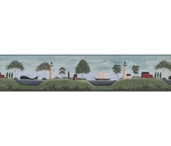 Outdoors Wallpaper Borders: Blue Lighthouses Wallpaper Border