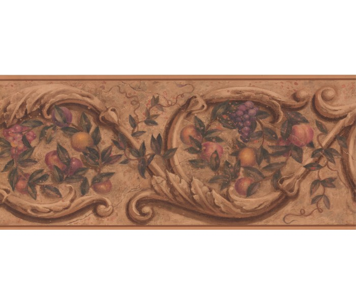 Vintage Wallpaper Borders: Floral Fruit Wallpaper Border 1172PZ