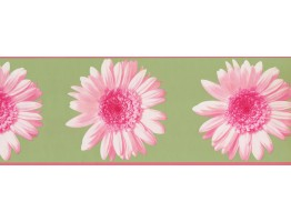Prepasted Wallpaper Borders - Green Pink Flower Wall Paper Border