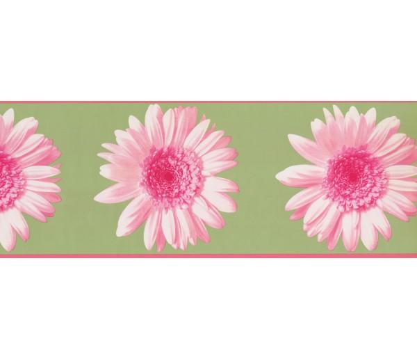 Floral Wallpaper Borders: Green Pink Flower Wallpaper Border