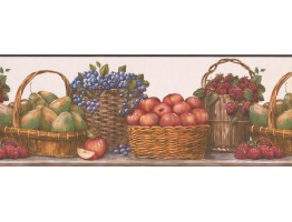 Prepasted Wallpaper Borders - Red Baskets Wall Paper Border