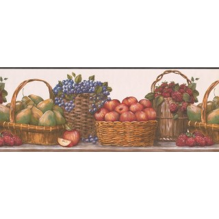 9 in x 15 ft Prepasted Wallpaper Borders - Red Baskets Wall Paper Border