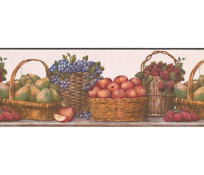 Garden Wallpaper Borders: Red Baskets Wallpaper Border