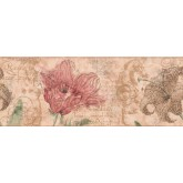 Garden Wallpaper Borders: Brown Hibiscus Sea Horse Wallpaper Border