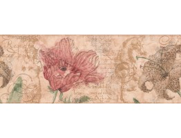 Prepasted Wallpaper Borders - Brown Hibiscus Sea Horse Wall Paper Border