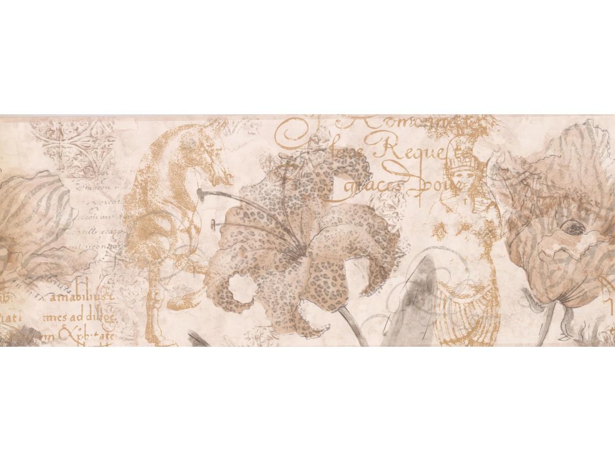Garden Borders Paper Brown Hibiscus Sea Horse Wallpaper