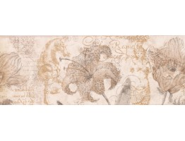 9 in x 15 ft Prepasted Wallpaper Borders - Paper Brown Hibiscus Sea Horse Wall Paper Border