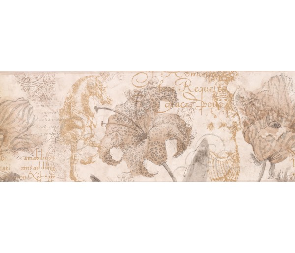 Garden Wallpaper Borders: Paper Brown Hibiscus Sea Horse Wallpaper Border