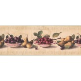 Prepasted Wallpaper Borders - White Background Berries Peach White plate Wall Paper Border
