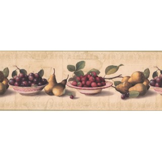 9 in x 15 ft Prepasted Wallpaper Borders - White Background Berries Peach White plate Wall Paper Border