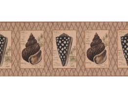 Brown Beige Diamond Sea Shells Wallpaper Border