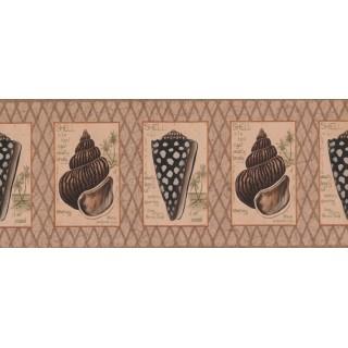 10 in x 15 ft Prepasted Wallpaper Borders - Brown Beige Diamond Sea Shells Wall Paper Border