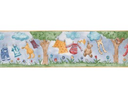 7 in x 15 ft Prepasted Wallpaper Borders - Hanging Kids Dresses Wall Paper Border