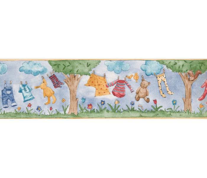 Laundry Wallpaper Borders: Hanging Kids Dresses Wallpaper Border