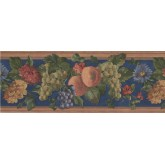 Clearance: Wooden Blue Fruits Floral Wallpaper Border