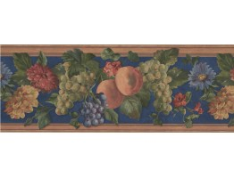 Prepasted Wallpaper Borders - Wooden Blue Fruits Floral Wall Paper Border