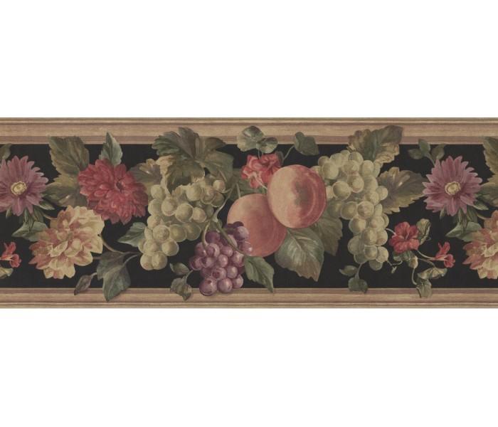 Garden Wallpaper Borders: Brown Stone Black Fruits Wallpaper Border