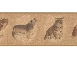 Prepasted Wallpaper Borders - White Brown Cat Sketch Wall Paper Border