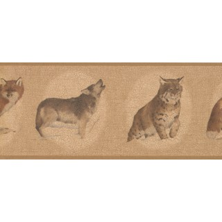 10 in x 15 ft Prepasted Wallpaper Borders - White Brown Cat Sketch Wall Paper Border