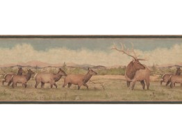 Prepasted Wallpaper Borders - Beige Green Deer Scenery Wall Paper Border