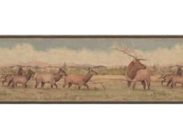 Beige Green Deer Scenery Wallpaper Border