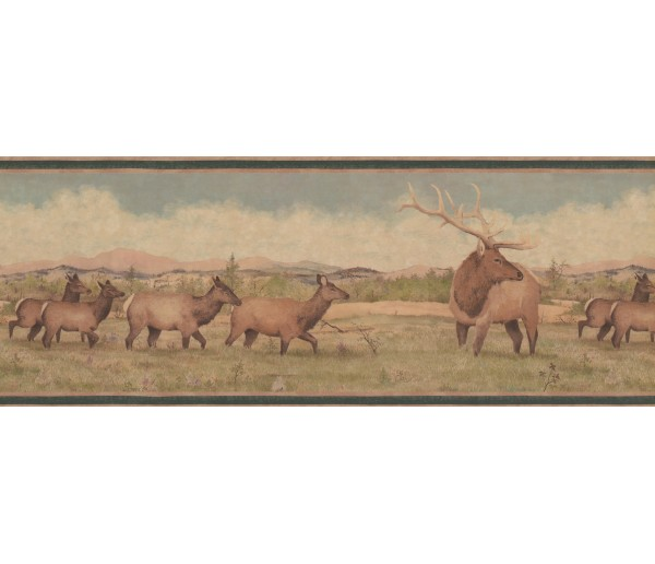 Deer Moose Beige Green Deer Scenery Wallpaper Border York Wallcoverings