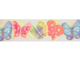 7 in x 15 ft Prepasted Wallpaper Borders - Butterfly Wall Paper Border RU8289