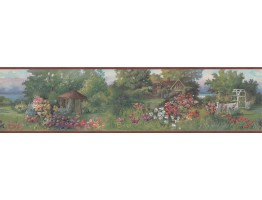 6 in x 15 ft Prepasted Wallpaper Borders - Red Brick House Garden Scenery Wall Paper Border