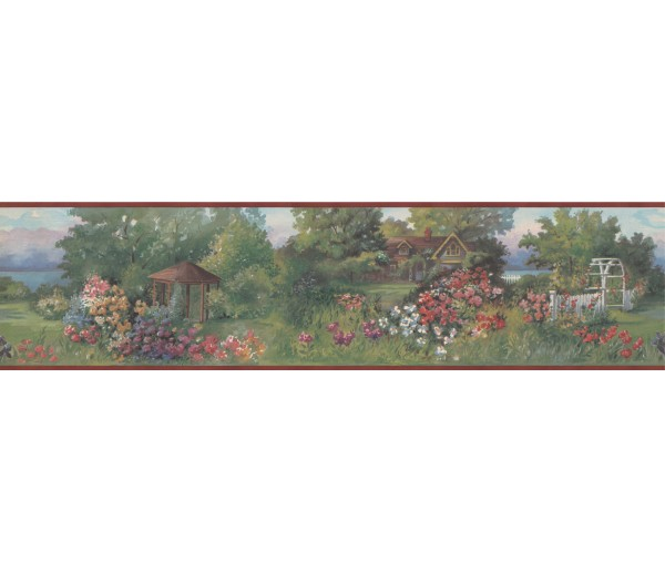 Prepasted Wallpaper Borders - Red Brick House Garden Scenery Wall Paper Border
