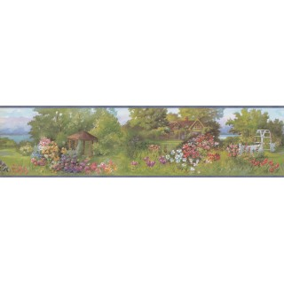 6 1/2 in x 15 ft Prepasted Wallpaper Borders - Blue Backyard Nature Wall Paper Border