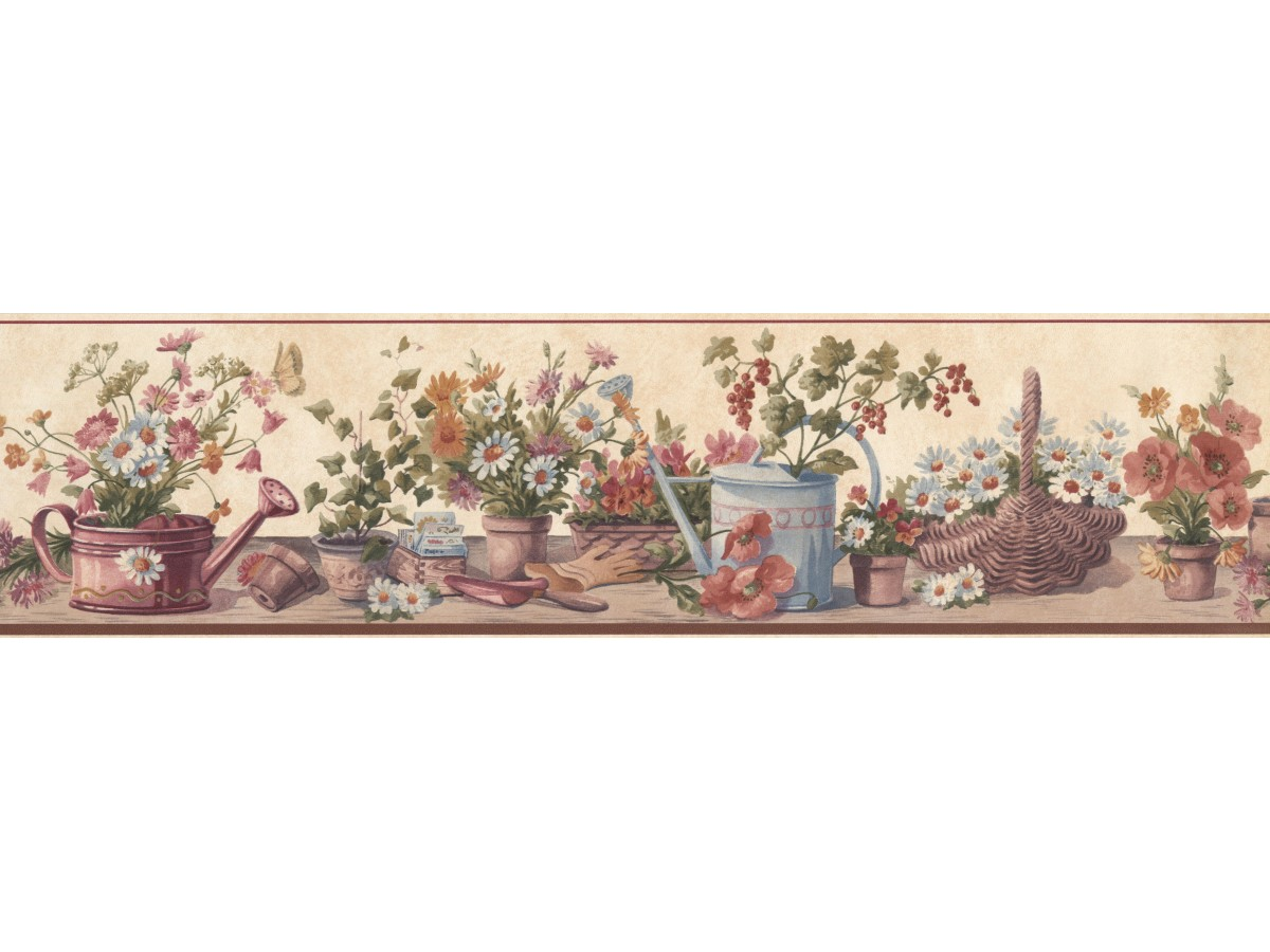 Cream Red Brown Floral Pots Wallpaper Border