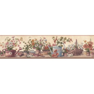 6 in x 15 ft Prepasted Wallpaper Borders - Cream Red Brown Floral Pots Wall Paper Border