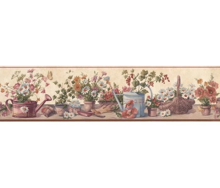 Clearance: Cream Red Brown Floral Pots Wallpaper Border