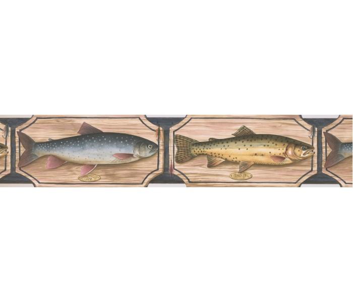 Fishing Wallpaper Borders: Blue Green Salmon Wallpaper Border