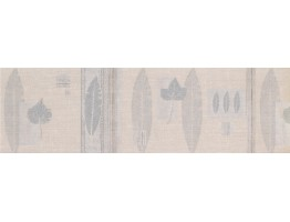 Prepasted Wallpaper Borders - Silver Cream Nature Leaves Wall Paper Border