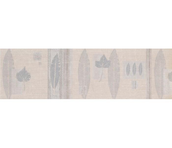 Vintage Wallpaper Borders: Silver Cream Nature Leaves Wallpaper Border