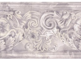Prepasted Wallpaper Borders - Grey White Stone Column Molding Wall Paper Border