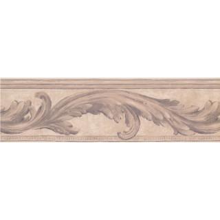 7 in x 15 ft Prepasted Wallpaper Borders - Purple Cream Molding Swirls Wall Paper Border