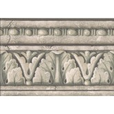 Vintage Borders Green Grey White Stone Column Molding Wallpaper Border York Wallcoverings