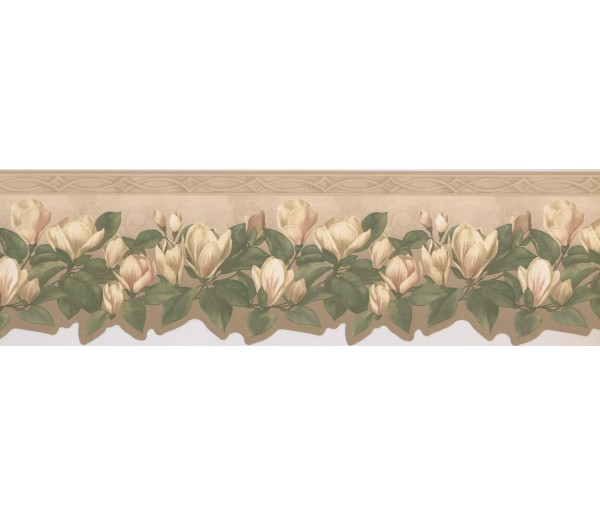 Floral Borders White Green Tulip Flower Wallpaper Border York Wallcoverings