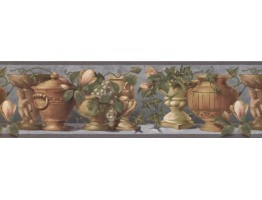 Prepasted Wallpaper Borders - Green Grapes Pot Wall Paper Border