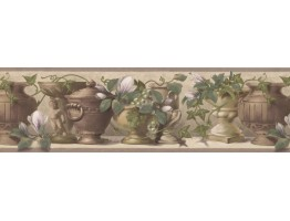 White Flower Green Grapes Pot Wallpaper Border